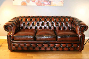Brand NEW  Vintage European 100% Leather Chesterfield sofa