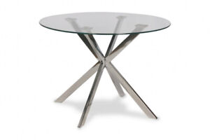 GLASSTOP ROUND OR RECTANGULAR DINING TABLES -$250