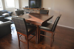 Bar Height Wood Dining Room Table c/w 4 Leather Swivel Chairs