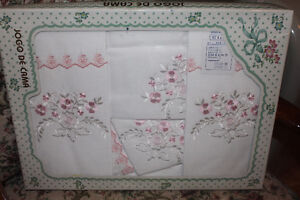 Embroidered New Sheets from Portugal ( Queen )( in pink or blue)