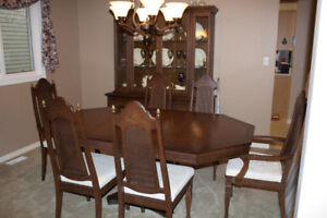dining room set,  expandable table,  chairs,  and buffet hutch