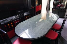 Dining Table with 6 chairs and matching Unit. Black and Marble effect Italian Design. Cost £2,500