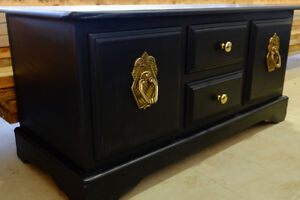 Beautiful black hope chest with gold accents
