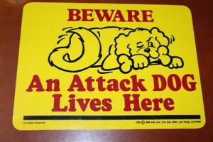 1984s Vintage Beware An Attack Dog Lives Here Plastic Sign