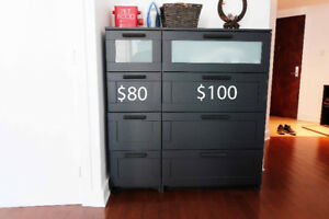 Ikea drawer dresser, black, frosted glass