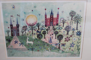 Framed Watercolour print -- Princess, castles, unicorn Kitchener / Waterloo Kitchener Area image 2