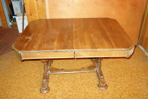 Antique Dining Room Walnut Oak Table