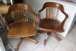 Vintage Oak Office Chairs Occasional, Solid Wood