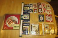 18 Cross stitch kits, hoop, cross stitch fabric.  $8 for ALL