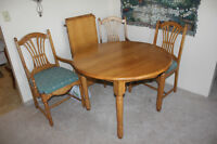 Oak Dining table, six chairs with Hutch & Cabinet