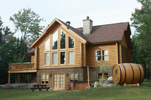 Spa and sauna at a cottage for rent chalet for rent St Sauveur