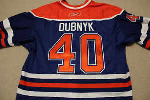 Game-Worn Autographed Oilers Devan Dubnyk Rookie Year Jersey