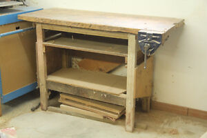 "Great WOODWORKING Bench w/ 6"" Vise - Very Solid"