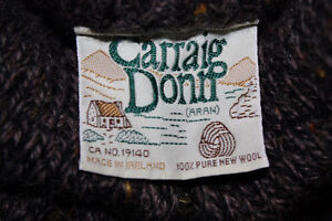 Carraig Donn Aran Full Zip Cable Knit 100% Wool Sweater Men's XL Peterborough Peterborough Area image 3