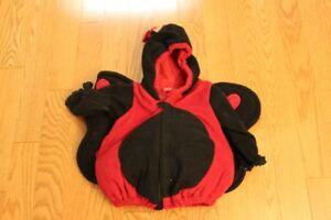 Halloween Lady Bug Costume Size 12 mths-2T (2T fleece pants)
