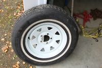 Trailer wheel and tire.