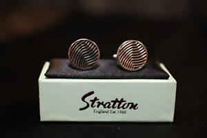 Men's Black Silver Cufflinks by Stratton of England