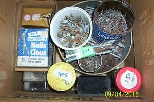 BOX LOT OF NAILS/SCREWS/BOLTS and MISCELLANEOUS