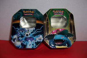 Pokemon Game Tins Blastoise and Electromon Card Boxes