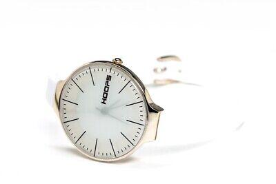 Hoops Damen Uhr Quarz Weiß Milchglas mit Kautschukarmband Edelstahl Rosegold