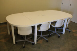 White Conference Table + 8 Chairs (Perfect Condition)