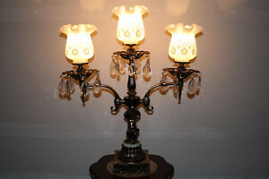 Vintage Brass, Marble and Crystal Lamp