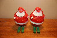 Vintage Plastic Santa Candy Containers on Skis - Christmas Decor