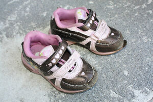 Brown with Pink Princess Running Shoes - Size 7 Peterborough Peterborough Area image 4