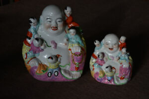 2 Vintage Chinese Porcelain  Buddha  W/ 5 Children statue signed