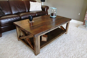 Beautiful Handmade Rustic X Coffee Table - Solid Wood