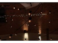 Outdoor Festoon hire and led up lighting for weddings parties garden party's