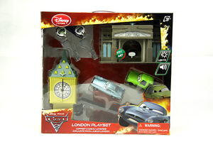 Cars 2 Disney store Pixar London Launcher Playset toys w/ Lights & Sounds
