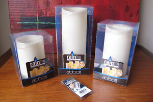 Set 3 New Rainlite Candles w/Remote Indoor or Outdoor Candles