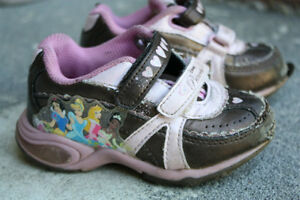 Brown with Pink Princess Running Shoes - Size 7 Peterborough Peterborough Area image 1