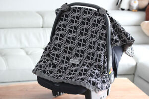 Carseat Canopy Baby Seat Cover (Knott - Black/Grey/White)
