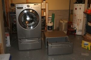 LG Front Load Washer and Two Pedestals