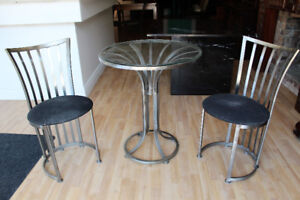 Small Round Metal and Glass Kitchen Table With Two Chairs
