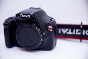 Canon T3 DSLR + 3 Lenses + 3 filters + 2 batteries + card reader
