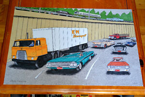 GRAND DESSIN CAMION INTL. TRANSTAR 1961 IMPALA VOITURES ANCIENNE