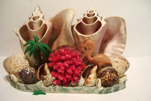 Conch Sea Shell TV Lamp with Flamingo and Palm Tree Mid Century