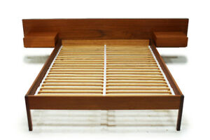 Mid Century Teak Double Platform Bed Designed by Reff