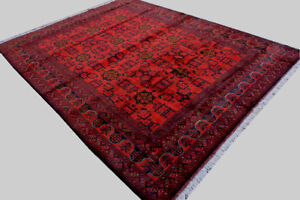 7x10 Ft Afghan Khal Mohamadi Red Rug, Hand Knotted Rug