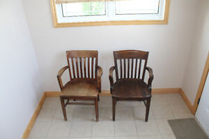 Pair of Wooden Captain Chairs