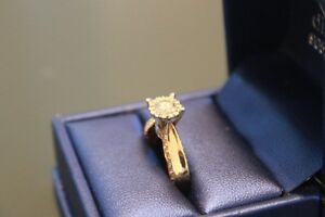 14k yellow and white gold custom engagement ring