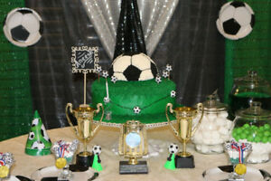 cakes and sweet table setup with custom made backdrops for ur pa