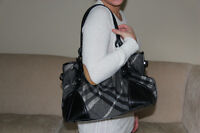Authentic Black and Grey Plaid Burberry Purse