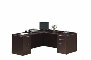 CLASSIC DESK WITH RETURN & 2 FULL PEDESTALS (CHERRY)