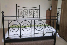 Black Ikea Double bed + mattress (delivery available