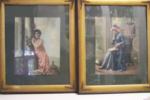Vintage Pair of Pictures with Victorian Themes