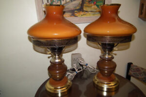 Vintage Hurricane Table Lamps with Glass shades,wood and brass